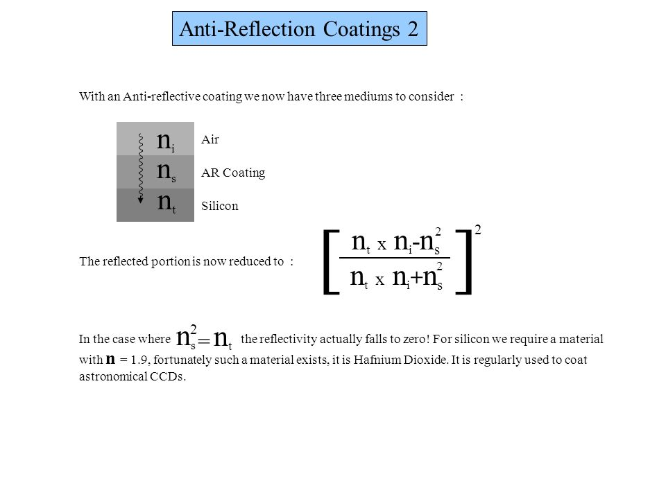 [ ] ni ns nt nt x ni-ns nt x ni+ns ns nt Anti-Reflection Coatings 2 =